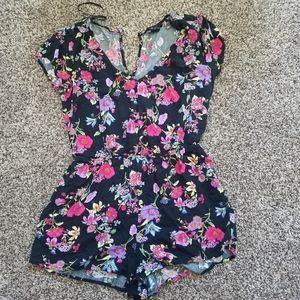 Forever 21 Black Floral Shorts Romper